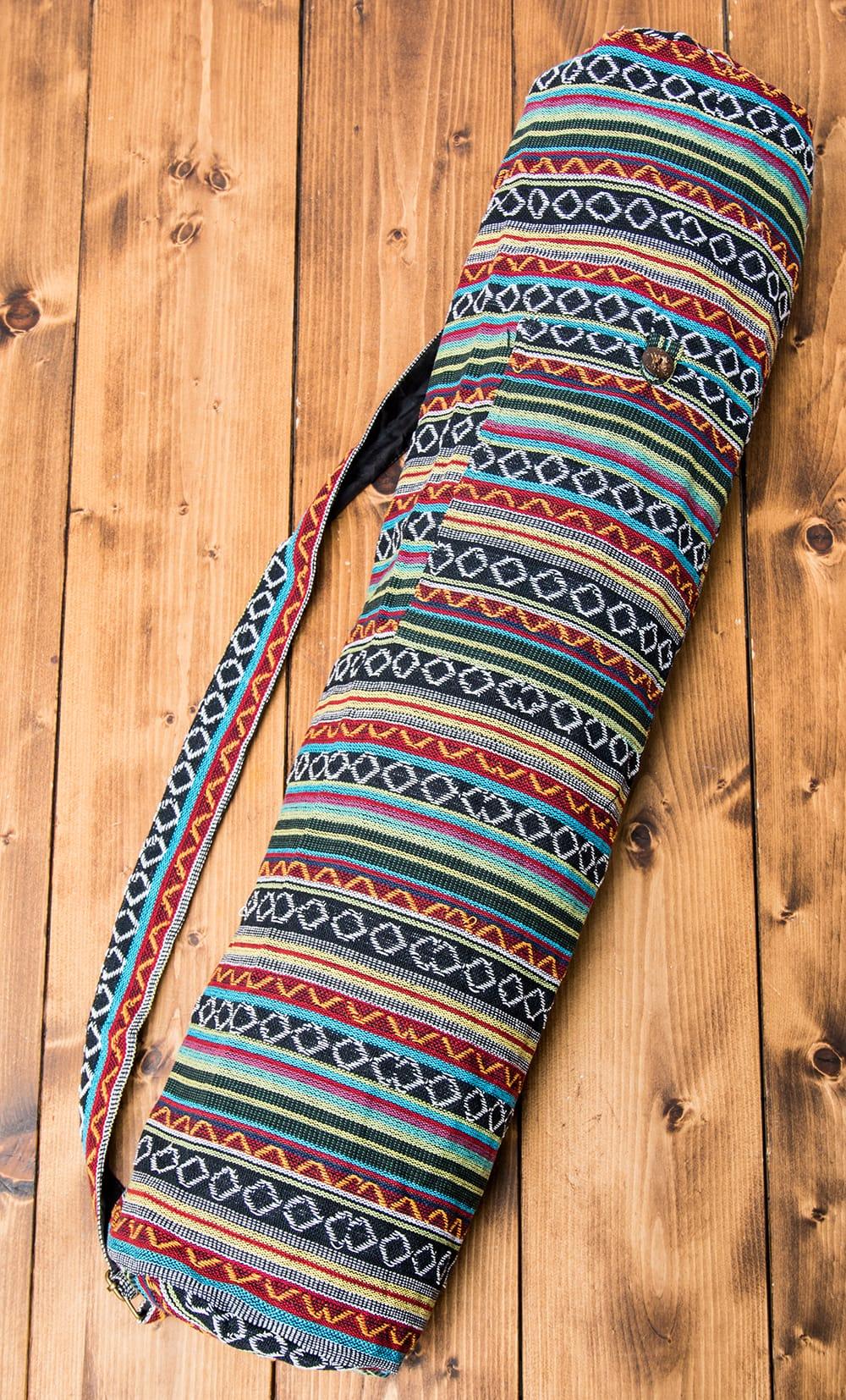 [ジッパータイプ]ネパール織り布のヨガマットバッグの写真