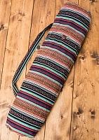 インドとアジアのバッグのセール品:[日替わりセール品][ジッパータイプ]ネパール織り布のヨガマットバッグ