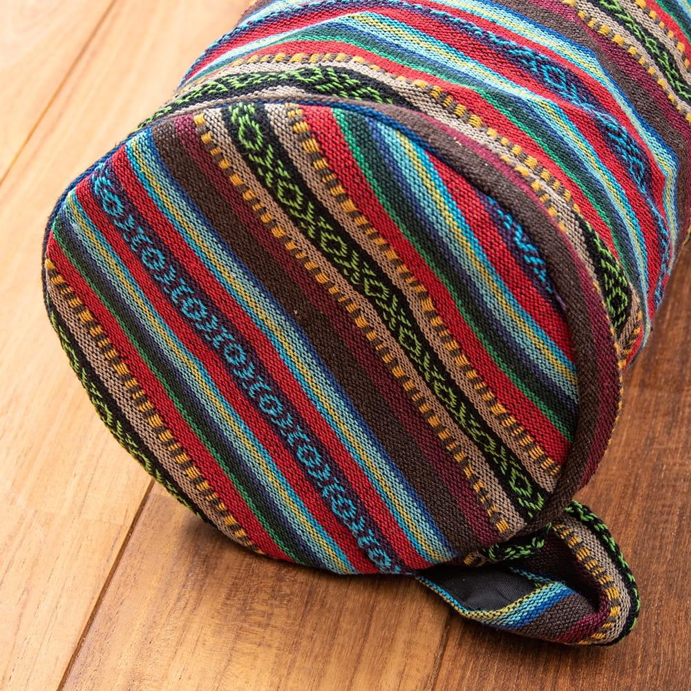 【大サイズ】ネパール織り布のヨガマットバッグ 2 - 底面もしっかり作られています
