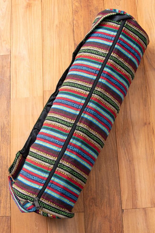 【大サイズ】ネパール織り布のヨガマットバッグ 4 - ファスナーは裏面についております