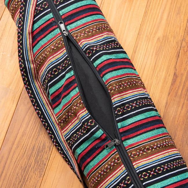 【大サイズ】ネパール織り布のヨガマットバッグ 6 - ファスナーは2つ付いているので、大きく開くことができとっても便利に。