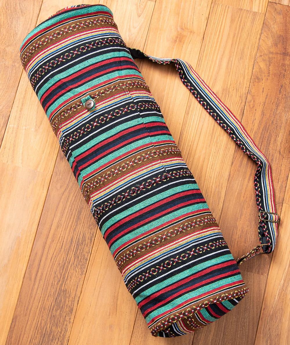 【大サイズ】ネパール織り布のヨガマットバッグの写真