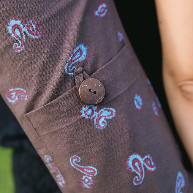 ウッドブロックのコットン ヨガマットバッグ【チャコールグレー】の写真3 - 小物入れが付いているので、お出かけに便利ですよ。