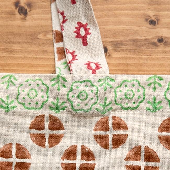 インドの木版染めトートバッグ【クリーム】の写真4 - しっかり縫われていて安心ですね^^