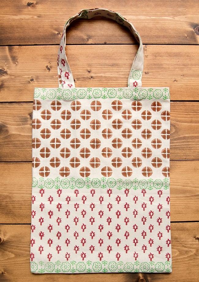 インドの木版染めトートバッグ【クリーム】の写真