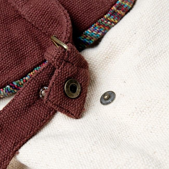 ざっくりコットンのナチュラルリュックサック 13 - 中はしっかりと留めておくこともできるように、紐で留められています