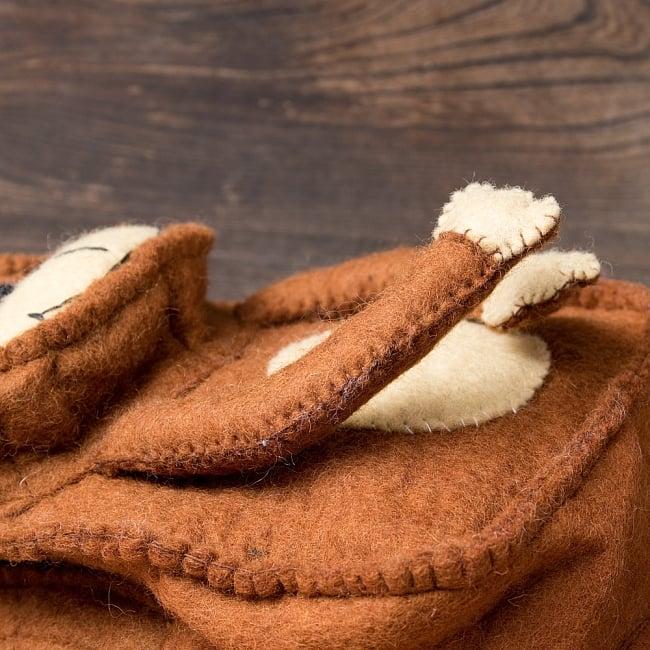 手作りフェルト ネパールのゆるいアニマルリュックサック - おサルさん 5 - 羊毛から手作りされています