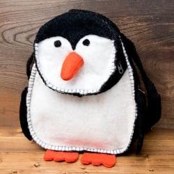 手作りフェルト ネパールのゆるいアニマルリュックサック - ペンギンさん