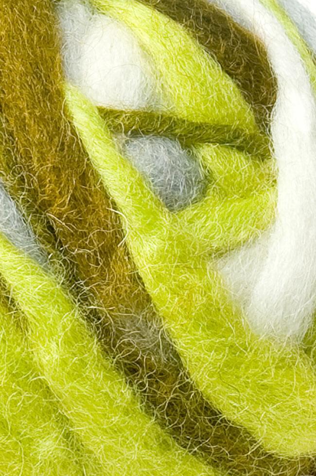 カラーウールボール - 緑×グレー 2 - 拡大写真になります。