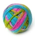 カラーウールボール - 水色×ピンク