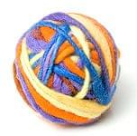 カラーウールボール - 水色×オレンジ