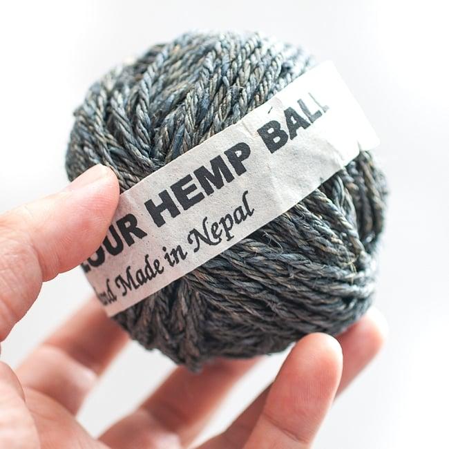 〔手芸用〕カラーヘンプボール - 灰 3 - 手に取るとこれくらいのまとまりです。