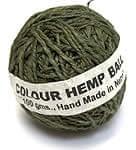 インドとアジアの布のセール品:[【6月末まで半額】]カラーヘンプボール-緑