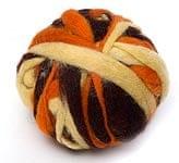 カラーウールボール - オレンジ×茶