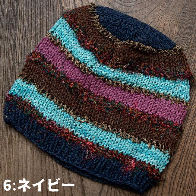 カラフルコットンのボーダーニット帽 11 - 選択6:カーキ