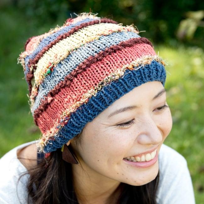 カラフルコットンのボーダーニット帽 2 - 女性でも男性でもお楽しみいただけます。
