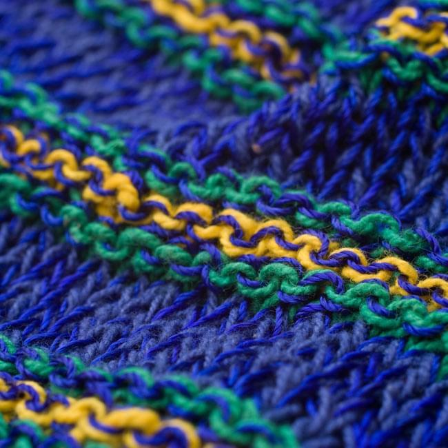 コットンとアートシルクのボーダーニット帽 【青】 4 - 質感のわかるようにアップで撮ってみました。柔らかい素材でとてもかぶりやすいです。
