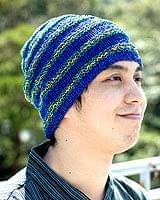 コットンとアートシルクのボーダーニット帽 【青】の商品写真