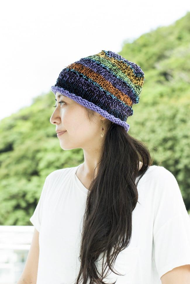 コットンのボーダーニット帽 【紫系】の写真