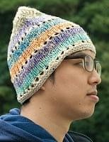 カラフルコットンのニット帽 【フリンジが白】