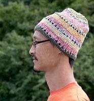 カラフルコットンのニット帽 【フリンジが緑】