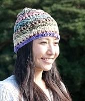 カラフルコットンのニット帽 【フリンジが紫】