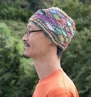 コットンとアートシルクのモスリム風ハット 【緑糸】