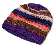 コットン・アートシルク・ヘンプののボーダーニット帽 【紫系】