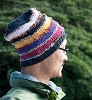コットン・アートシルク・ヘンプののボーダーニット帽 【黒系】