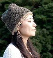 ヘンプとアートシルクのロールハット帽 【カーキー】