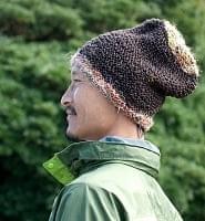 ヘンプとアートシルクのロールハット帽 【ブラウン】