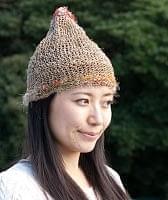 ヘンプとアートシルクのロールハット帽 【ナチュラル】