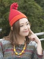 ヒマラヤ星人の帽子 【オレンジ×赤】