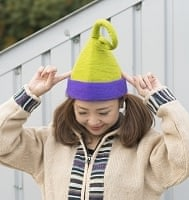 ヒマラヤ星人の帽子 【黄緑×紫】