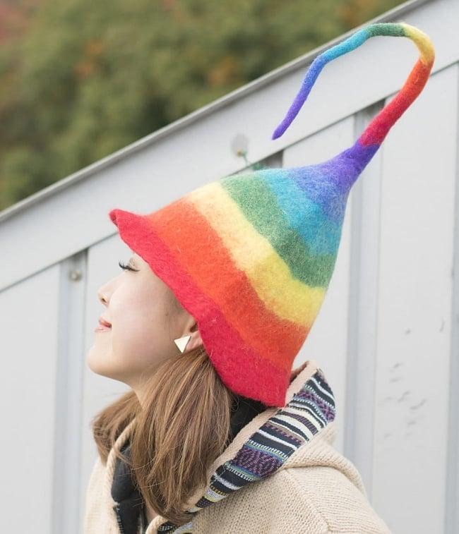 ヒマラヤ星人のチューリップ帽 【レインボーハット】の写真