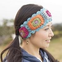 お花刺繍のニットヘアバンド - 水色