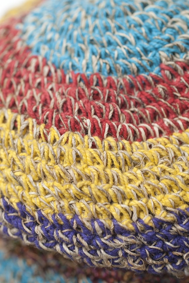 ヘンプのしましまカラーハット 5 - 丁寧に編み込まれています。