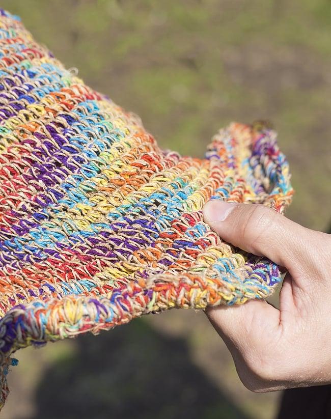 ヘンプのとんがりハット 4 - ざっくりした編み心地が心地良いです。
