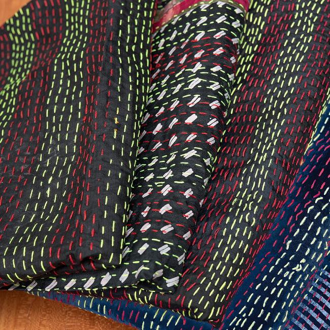 【アソート】インドのカンタ刺繍スカーフ (約200cm×約45cm) 11 - 1:ブラック系