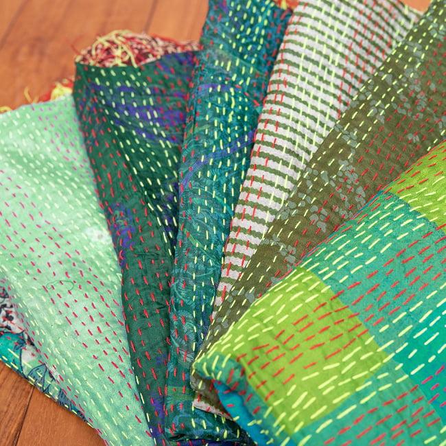 【アソート】インドのカンタ刺繍スカーフ (約200cm×約45cm) 14 - 4:グリーン系