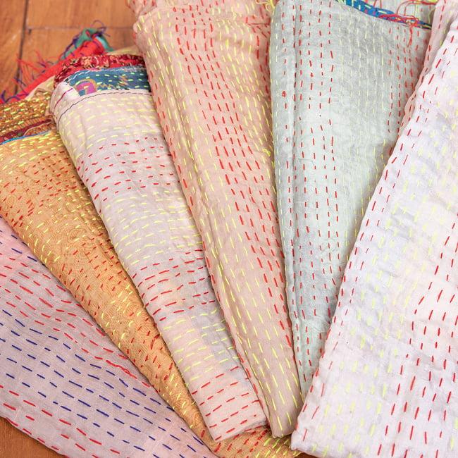 【アソート】インドのカンタ刺繍スカーフ (約200cm×約45cm) 15 - 5:ベージュアイボリー系