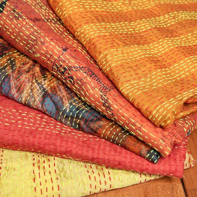 【アソート】インドのカンタ刺繍スカーフ (約200cm×約45cm) 17 - 7:イエロー・オレンジ系