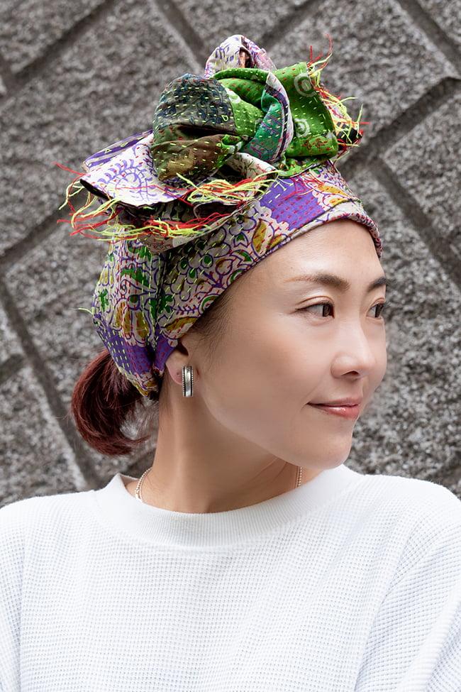 【アソート】インドのカンタ刺繍スカーフ (約200cm×約45cm) 9 - ターバンとしても使用しやすい長さです。