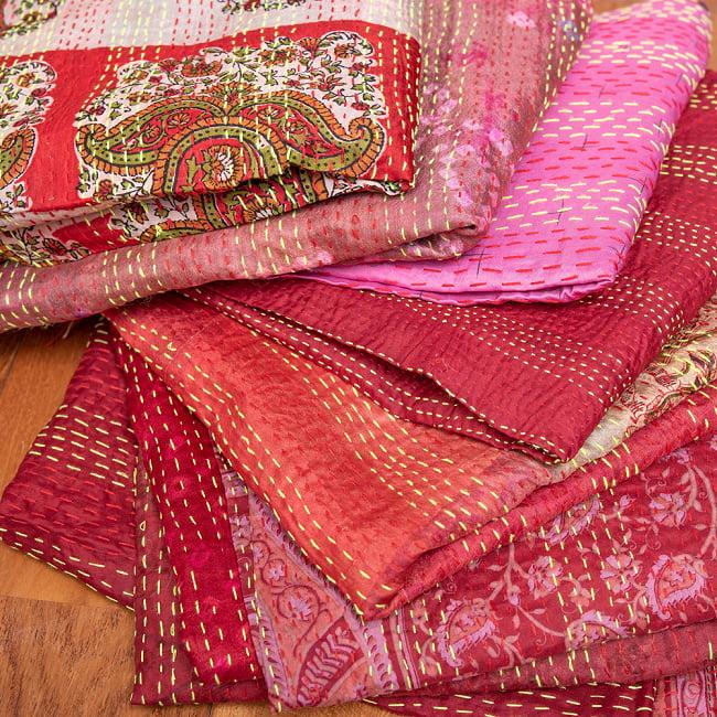 【アソート】パッチワークのカンタ刺繍ショール (約95cm×約190cm) 12 - 2:赤・ピンク系