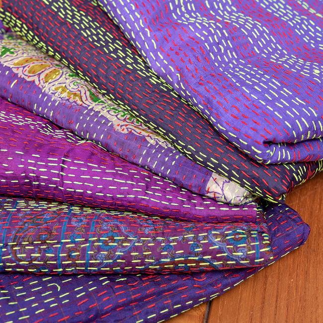 【アソート】パッチワークのカンタ刺繍ショール (約95cm×約190cm) 13 - 3:パープル系