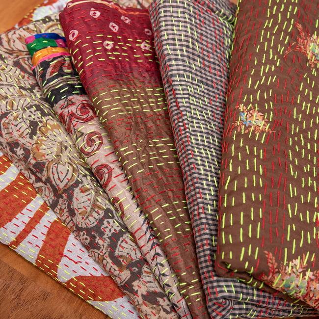 【アソート】パッチワークのカンタ刺繍ショール (約95cm×約190cm) 16 - 6:ブラウン系