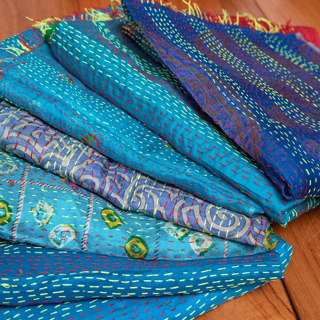 【アソート】パッチワークのカンタ刺繍ショール (約95cm×約190cm) 18 - 8:ブルー系