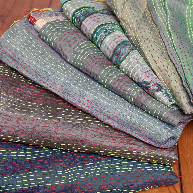 【アソート】パッチワークのカンタ刺繍ショール (約95cm×約190cm) 19 - 9:グレー系