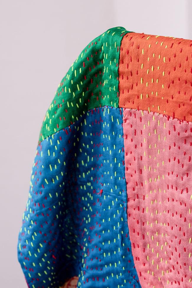 【アソート】パッチワークのカンタ刺繍ショール (約95cm×約190cm) 5 - 端部分をアップにしてみました。柔らかい質感が気持ちよいです。