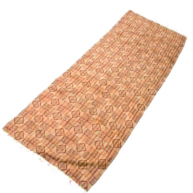 【1点物】インドのカンタ刺繍ショール (214cm×54cm) 9 - 反対の面の全体像です。
